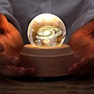 KH Projection LED Light-3D Crystal Ball Music Box Luminous Rotating Musical Box-Wood Base Best Gift for Birthd