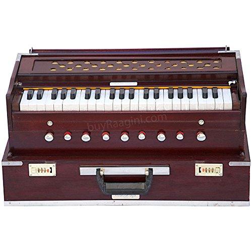 Maharaja zusammenklappbar Palisander Harmonium-9Stopper-Safri-3½ Oktave-mit Kupplung, kommt mit Buch & Tasche-dran zu A440(pdi-ahf)