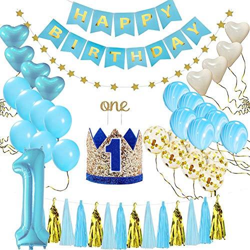 stagsdeko Dekoration Set Happy Birthday Banner für Junge Party Dekorationen Kindergeburtstag Luftballons Ballons Deko Blau Prinz Thema ()
