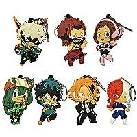 Sbarden My Hero Academia Animation Around PVC Soft Alloy Keychain Collectible Key Ring Bag Novelty Accessory Anime Cartoon Pendant Anime Fans Gift( 7PCS)