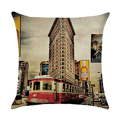 OPoplizg Retro Style Cushion Cover London New York Paris City View Printing Double-Sided 120g Thick Cotton Linen Square Pillowcase 40cm x 40cm(16 x 16inch) (Halloween-partys York Queens New)