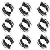 AHAYAKU Luxury 9Paire 5D Falsche Wimpern Fluffy Strip Wimpern Lange Natürliche Party Makeup
