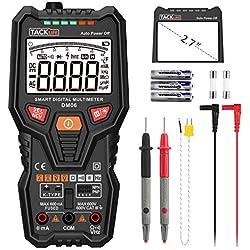 Multímetro digital tacklife dm06Autorange 6000cuentas True RMS Medir AC DC Voltaje Corriente Resistencia Temperatura NPN PNP Transistor y Live Line prueba con cable de prueba. Cable y linterna