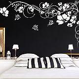 Wandaro E020 Wandtattoo Blumenranke I Dunkelgrau 150 x 82 cm I Schmetterlinge Blumen Schlafzimmer Aufkleber Wandaufkleber Wandsticker