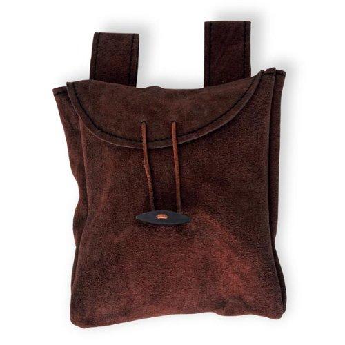 Dünne Ledertasche Gürteltasche aus Wildleder Mittel Schwarz oder Braun handgefertigt (Braun) - 2