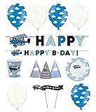 Feste Feiern Flugzeug Motto Party | 26 Teile All In One Set Luftballon Teller Becher Girlande Blau Junge Geburtstag Deko Alles Gute