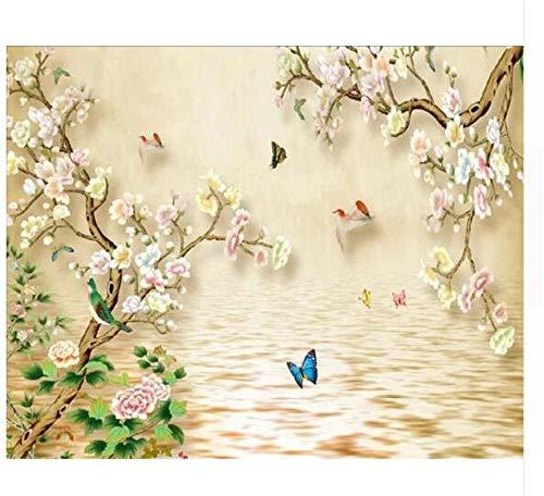 Pmrioe Handgemalte Blumen Und Vögel Des Chinesischen Stils Muster Fernsehhintergrund Wandhauptdekoration 3D Tapete, 400X280 Cm (157.5 By 110.2 In)