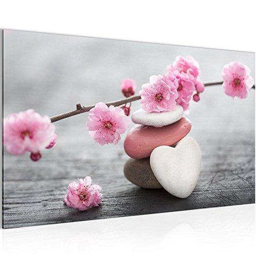 Bilder Feng Shui Blumen Wandbild Vlies - Leinwand Bild XXL Format Wandbilder Wohnzimmer Wohnung Deko Kunstdrucke 70 x 40 cm Pink 1 Teilig...