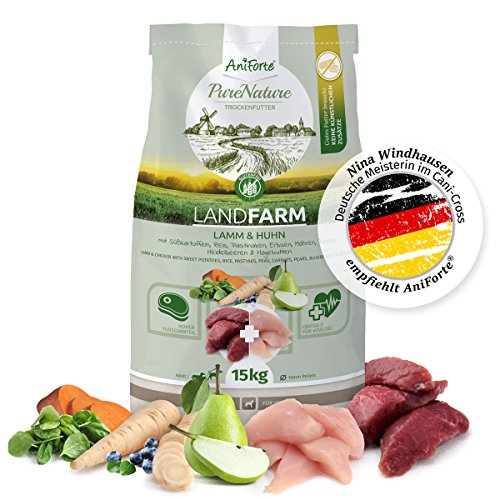 AniForte NEU 100% Natur Trockenfutter natürliches Hunde-Futter getreidefrei LandFarm 15 kg, Lamm und Huhn mit Süßkartoffeln, Reis und Hagebutte, Ohne Chemie und künstliche Vitamine, - Hühner Futter Napf