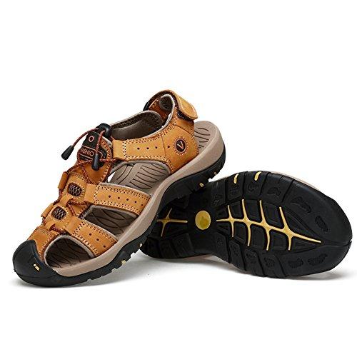 ZHShiny Herren Leder Sandalen Sommer Sport Sandalen Outdoor Strand Schuhe Sport-Outdoor Wasser Fischer Atmungsaktive Sandale Große Größe,Hellbraun,EU42 (Ihre Besten Noch Besser)