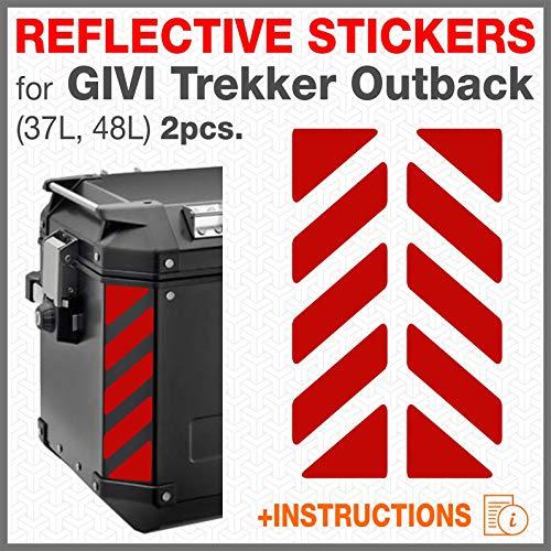 Black Doves Graphics 2pcs Reflektierende Aufkleber kompatibel mit GIVI Trekker Outback 37 48L Seitentaschen (Rot)