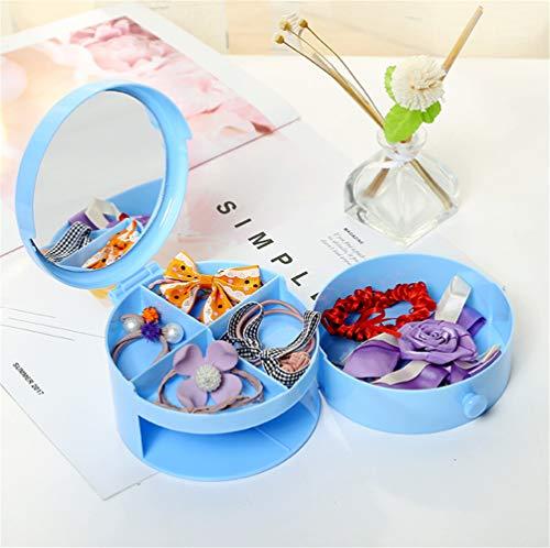 FDGT Runde Doppelschicht Schmuckschatulle Cartoon Mini Schmuckschatulle Aufbewahrungsbox 12X7Cm   Blau (12 Runden Tisch Spiegel)