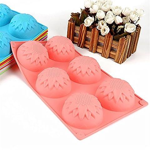 6 Formes fleurs à la cavité Forme Moule à savon en silicone Jelly Mold Cake Forme de boulangerie à pain