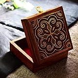 Hashcart indiano artigianale, fatto a mano e realizzato artigianalmente in legno di scatola/cofanetto portagioie/organizer portaoggetti con design tradizionale e intarsi in ottone lavoro
