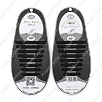 Easy No Tie Elastic Shoe Lace 100% Silicone Trainers Shoes Adult & Kids Shoelaces (Adult Black)