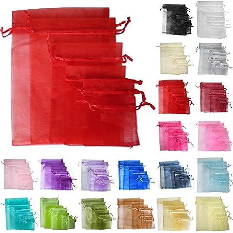 TtS 25 10x15cm Borsa Organza regalo sacchetto Gioielleria Sacchetti di natale festa di nozze favori caramella (rosso)