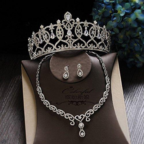 Krone, Braut, Kopfschmuck, Retro temperament Diamant Krone, Palace queen Krone, Zirkon Haar Hochzeit Kleid, Zubehör, F drei Stück (Ear (Kronen Kunststoff King)