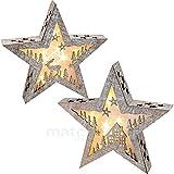 matches21 Weihnachtlicher Stern Holz Weihnachtsdeko mit Motiv Haus / Elch 1 Stk. mit LED Beleuchtung 28x6x28 cm