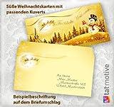 TATMOTIVE 0066 Weihnachtskarten 100-tlg. Klappkarten stilvolle Weihnachtskarten SCHNEEMANN (25 Karten + 25 Umschläge + 25 Einlegeblätter + 25 Goldbänder = 100 Teile) ein Weihnachtskarten-Potpouri im Vintage-Stil