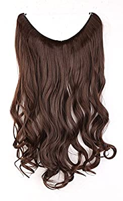 """S-noilite® 20"""" One Piece Half Full Head Secret Miracle Wire in Hair Extensions Ombre Wavy Curly Hairpieces - Medium brown by UK-Fashion-Shop"""