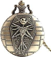 Reloj de bolsillo de calavera Cool Unique Vintage envejecido colgante forma redonda herramientas