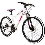 Galano GX-26 26 Zoll Damen/Jungen Mountainbike Hardtail MTB (Weiss/pink, 44cm)