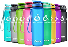 Grsta bottiglia d'acqua sportiva - 1 litro & 800ml & 600ml borraccia sportiva, a prova di perdite, riutilizzabile senza BPA tritan plastica detox bottiglie acqua per palestra, sport, yoga, la corsa, viaggio borraccia con filtro per frutta e spingere il coperchio