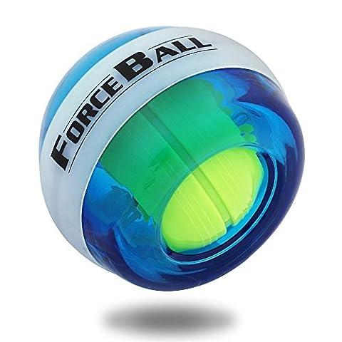 Wrist Trainer LED Wrist Ball Powerball Tri-Spinner Fidget Toy Hand Spinner Gyroscopic Ball - Arm Strengthener , Wrist & Forearms Exerciser (Blue(No Digital))