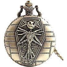joyliveCY-Reloj de bolsillo de calavera Cool Unique Vintage envejecido colgante forma redonda herramientas