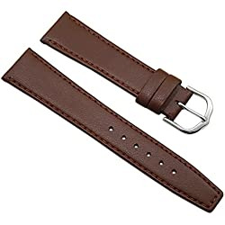 20mm Calf leather watch strap band in brown with buckle in silver