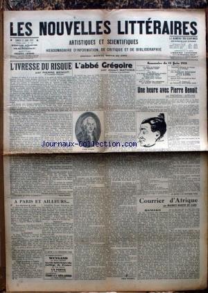 NOUVELLES LITTERAIRES (LES) [No 452] du 13/06/1931 - COURRIER D'AFRIQUE PAR M. MARTIN DU GARD - PIERRE BENOIT - L'ABBE GREGOIRE PAR A. MATHIEZ - PIERRE BENOIT PAR LEFEVRE - WEYGAND.