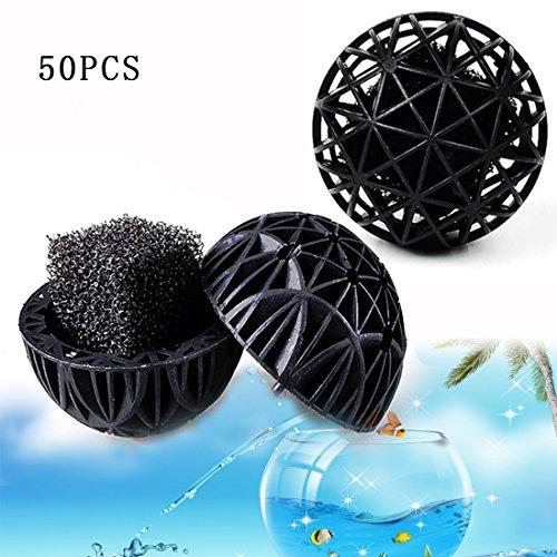 A-szcxtop 50Bio-Kugeln Filter Sieb Aquarium Teich Bio Balls Kanister Filter Media mit 26mm Dia für Marine Reef Ölwanne Fisch Tank Teich, schwarz