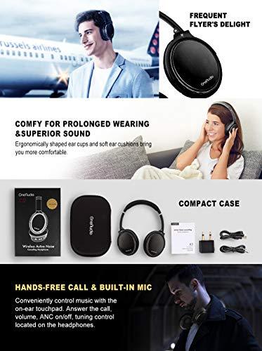 OneAudio Active Noise Cancelling Kopfhörer ANC Bluetooth Over Ear Headset mit aktiver Rauschunterdrückung 18 Stunden Spielzeit, integriertem Mikrofon, Schwarz - 7