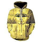 WEIYIGE 3D Pullover Mit Kapuze Pullover Pharao Digitaldruck Männer Und Frauen Langarm Kopf Quelle -S