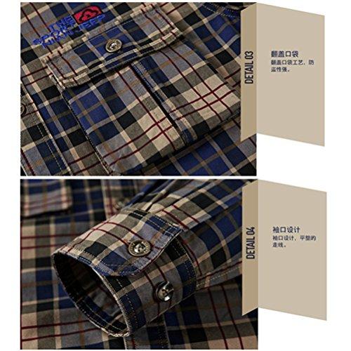 ... WS668 Herren 100% Baumwolle Casual Shirt Kariert Tops Gute Qualität  Buttons Check Lange Ärmel Leicht ...