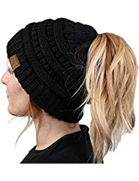 Alexvyan Ponytail Warm Women Stretch Knitted Crochet Winter Cap for Women Girl Female Cap Black