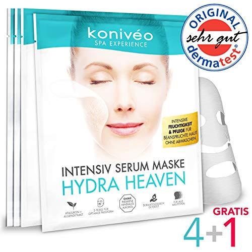 Tuchmaske Gesichtsmaske - Premium Hyaluron Gesicht Maske - 4 + 1 Stück