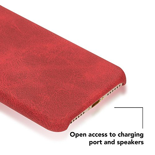iPhone 8 / 7 Kunstleder Hülle von NICA, stoßfeste Schutzhülle Case, Dünne Handyhülle Handy-Tasche, Soft-Cover Slim Backcover Phone Etui Matt Bumper für Apple i-Phone 7 / 8 Smartphone, Farbe:Grau Rot