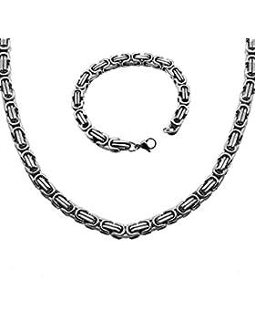 1 Set Königskette + Armband 6 mm Stark Panzerkette Halskette Edelstahl Herren Herrenkette Silbern 55cm Gliederkette