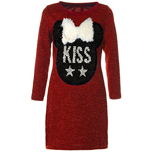 BEZLIT Mädchen Wende-Pailletten Tunika Extra Long-Shirt Bluse Langarm 21583, Farbe:Rot, Größe:128