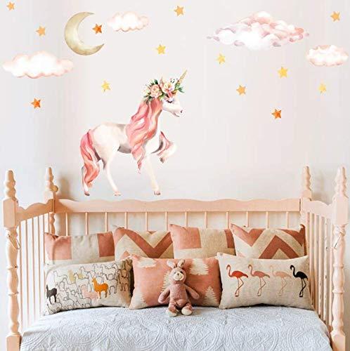 AIYANG Licorne Mur Autocollants Les Couleurs de l'arc en Ciel la décoration Murale pour Les Filles bébé Chambre Salle de décoration (Licorne Rose)