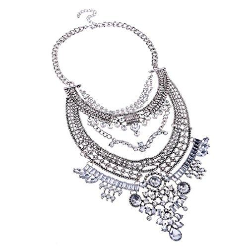 Jerollin lange klassisch golden kette weiss Kristallen Blogger elegant Strass Halsband Anhaenger Halskette Statement (Lange Goldene Halskette Modeschmuck)