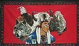 indischen mit Wolf und Adler Flagge 5ft x 3ft groß–100% Polyester–Metall Ösen–doppelt genäht