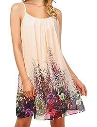 c25dc7aa7 Hibote Vestido para Mujer - Moda Estampado Floral Mini Vestidos Sexy sin  Mangas Fuera del Hombro