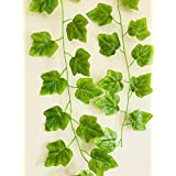 Rain Forest Artificial Plant Vines (Value Pack Of 2 X 8ft) Green Maple / Artificial Plants For Living Room / Artificial Plants For Decoration / For Wall Decoration, Wedding Decoration, Party Decoration, Vehicle Decoration, Stage Decoration / Length 8 Feet
