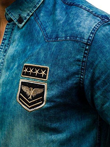 BOLF – Chemise en jean – avec manches longues – Homme – 2B2 Bleu foncé