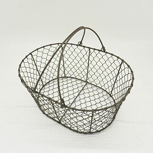 CVHOMEDECO. Ovale en fil métal Panier à œufs à volaille Panier avec poignée de bain Country Style vintage Panier de rangement. Rusty, L31.8 x W23.5 x H13.3 cm