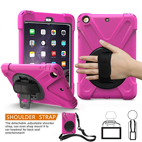 Fällen Generation Mini Ipad 1. (iPad Mini 1., 2., 3. Generation Fall, braecn dreilagiger Heavy Duty Soft Hard Silikon Bumper Case mit 360 Grad Drehgelenk Ständer/A Handschlaufe und einen Schultergurt für iPad Mini 1 2 3 Fall (Rose red))