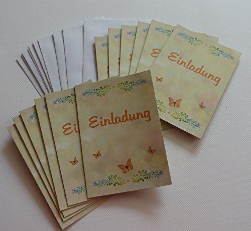 Einladungskarten blanko (leer, ohne Druck bzw. ohne Text) im Set. Geburtstag - Jubiläum - Hochzeit feiern und dazu einladen. Selbst gestalten mit 12 x Karten zur Einladung uni, natur, creme, orange und 12 x Umschlag (12er Pack)