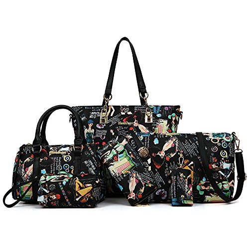 FavoMode, Borsa a mano donna nero Underwater world black Cute Girls